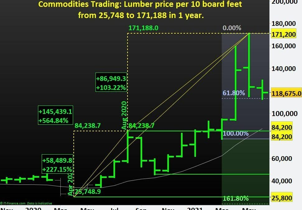Commodities Trading: Lumber price per 10 board feet from $25,748 to $171,188 in 1 year.